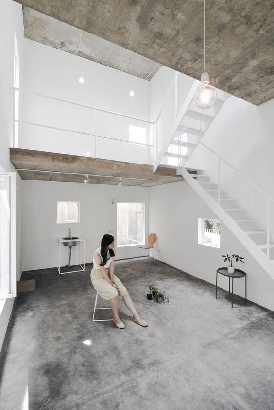 Industrieel interieur betonvloer