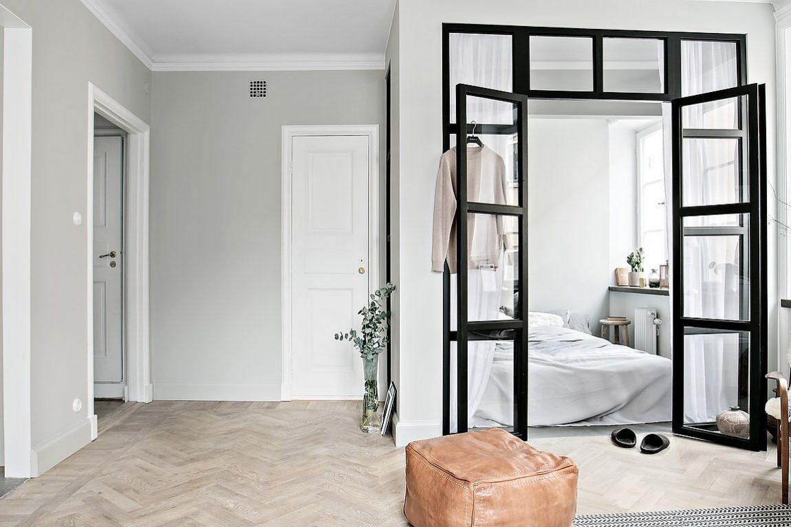 industrieel interieur dubbele stalen deur slaapkamer