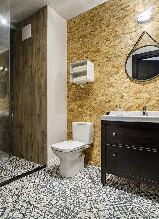 industrieel interieur osb wand badkamer