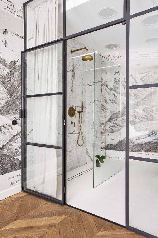 industrieel interieur stalen kozijnen badkamer