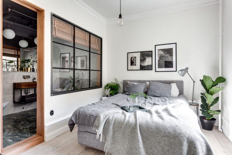industrieel interieur stalen kozijnen slaapkamer idee
