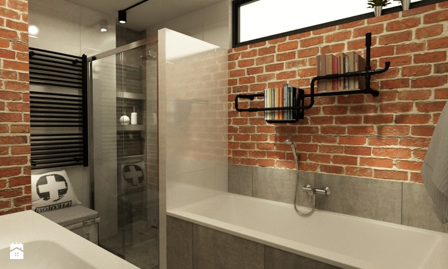 industriële badkamers voorbeelden bakstenen muur