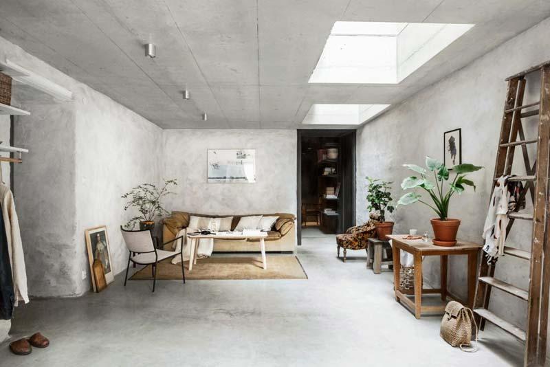 Industriële woonkamer beton