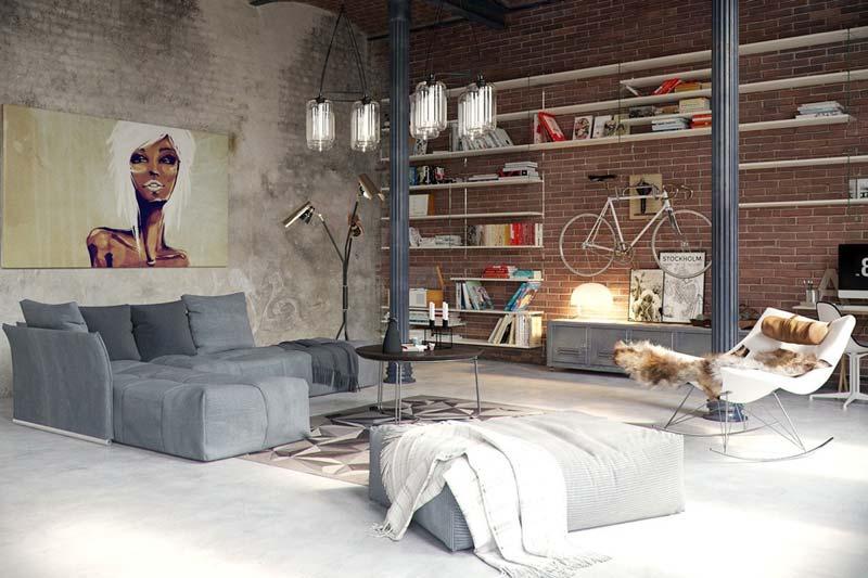 Industriële woonkamer fiets aan muur hangen