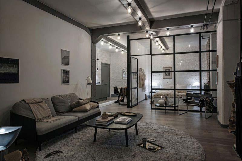 Industriële woonkamer loft appartement