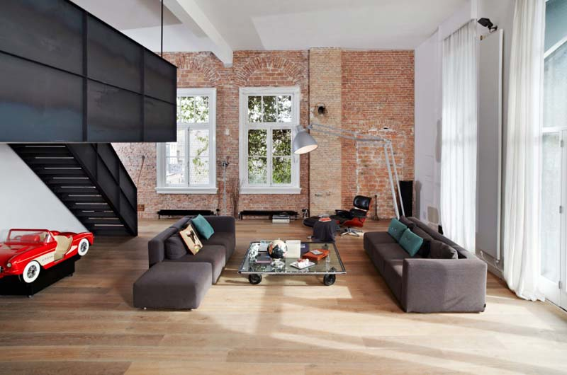 industriële woonkamer open indeling
