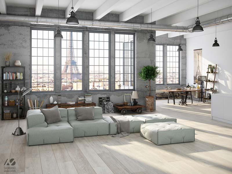 industriële woonkamer pastel