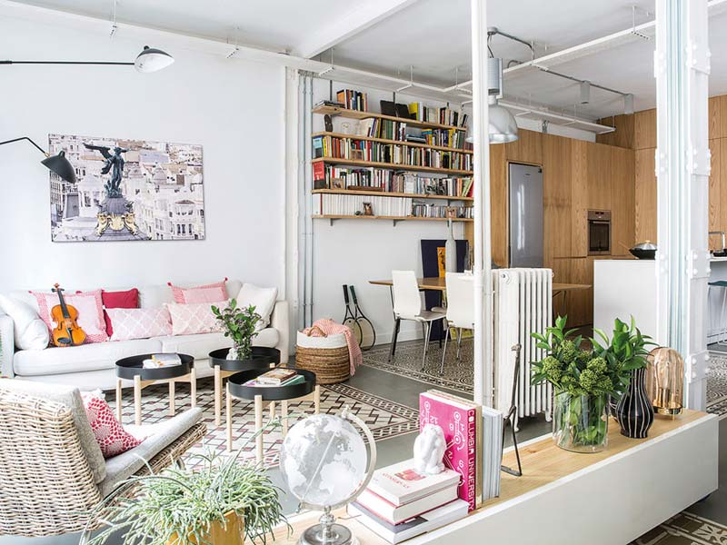 Industriële woonkamer Spaanse tegels