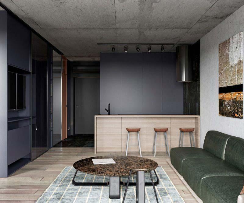 industriële woonkamer strak modern