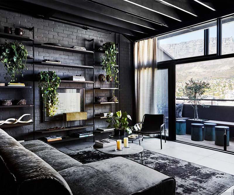 Industriële woonkamer zwart interieur