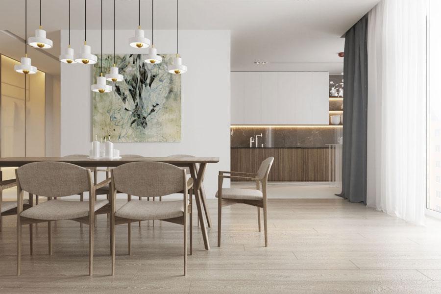 Inspirerend idee om woonkamer, eetkamer en keuken te combineren
