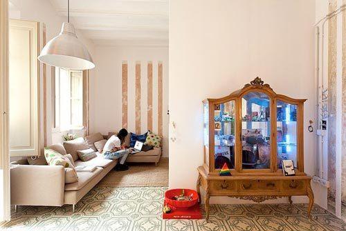 Karakteristieke l-vormige woonkamer