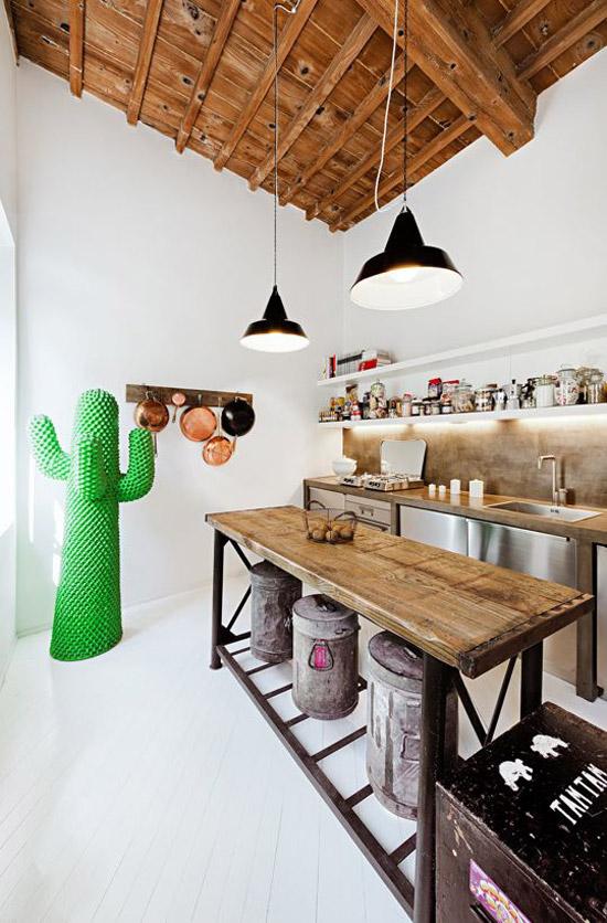 Keuken met houten elementen
