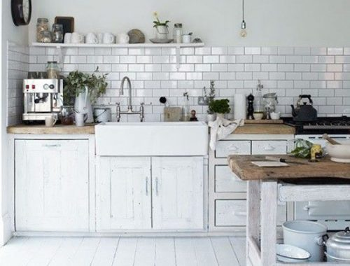 Keukenwand met metrotegels