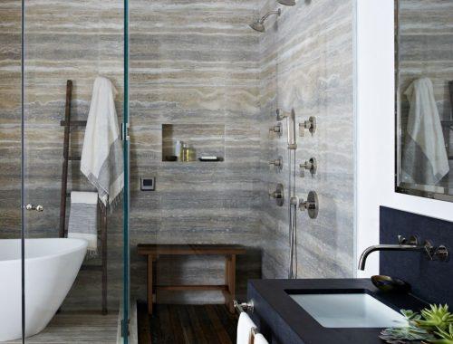 Klassieke badkamer in een stoere New York loft