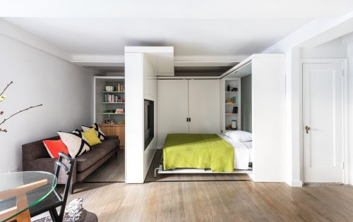 Klein Kantoor Inrichten : Klein appartement inrichten met verschuifbare muur