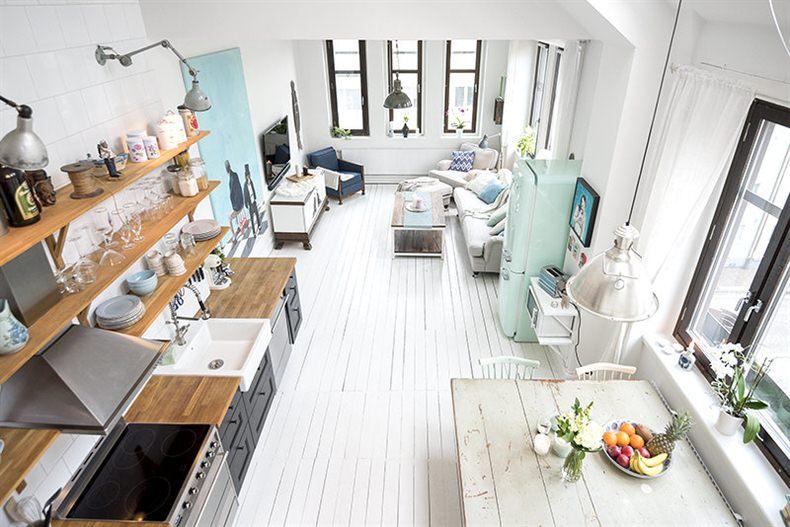 Wonen In Wit : Klein wonen in een scandinavisch appartement van m huis
