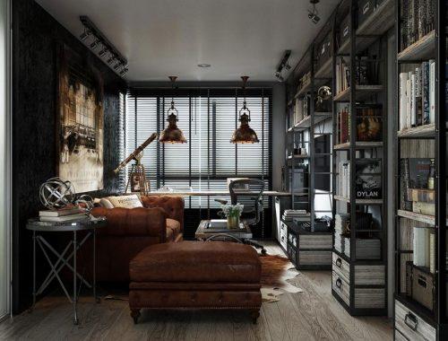 Kleine industriële vintage woonkamer