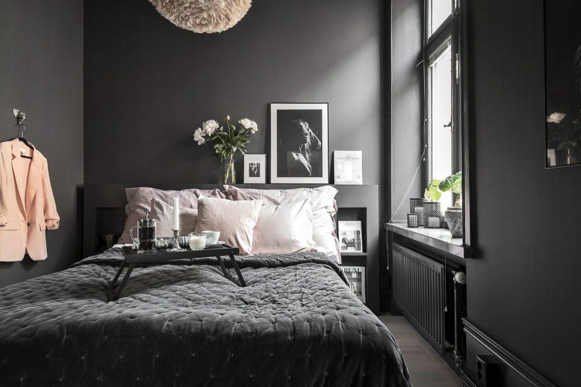 kleine slaapkamer inrichten donkere muren