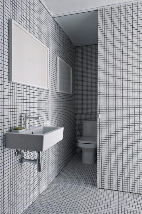 Kleine smalle badkamer