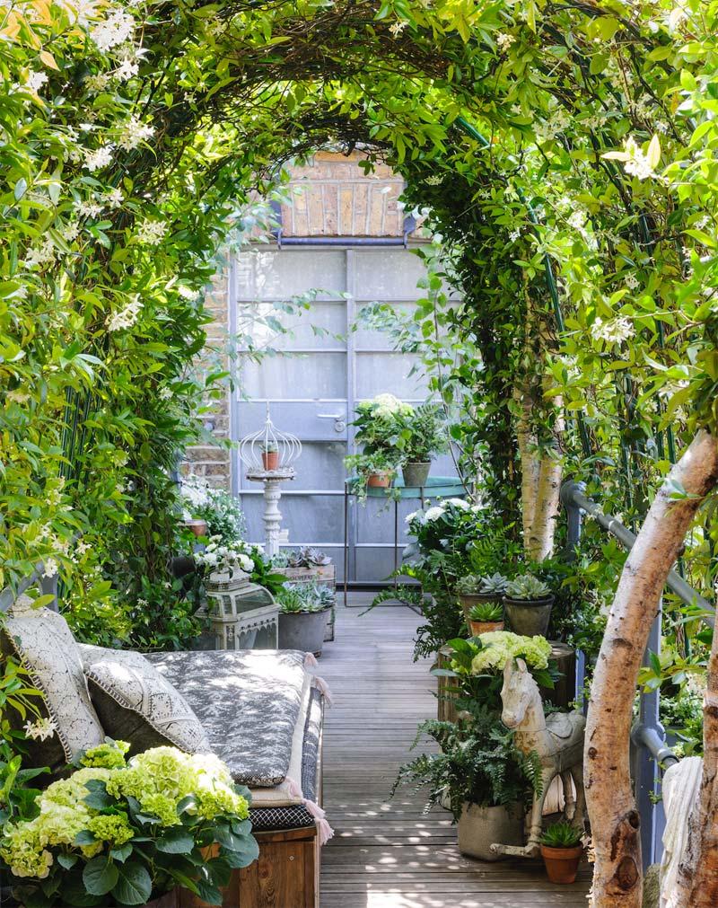 Deze kleine smalle tuin, ontworpen door Garden Club London, bevat een mix van verschillende soorten mooie planten.