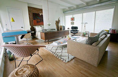 Kleine vintage woonkamer