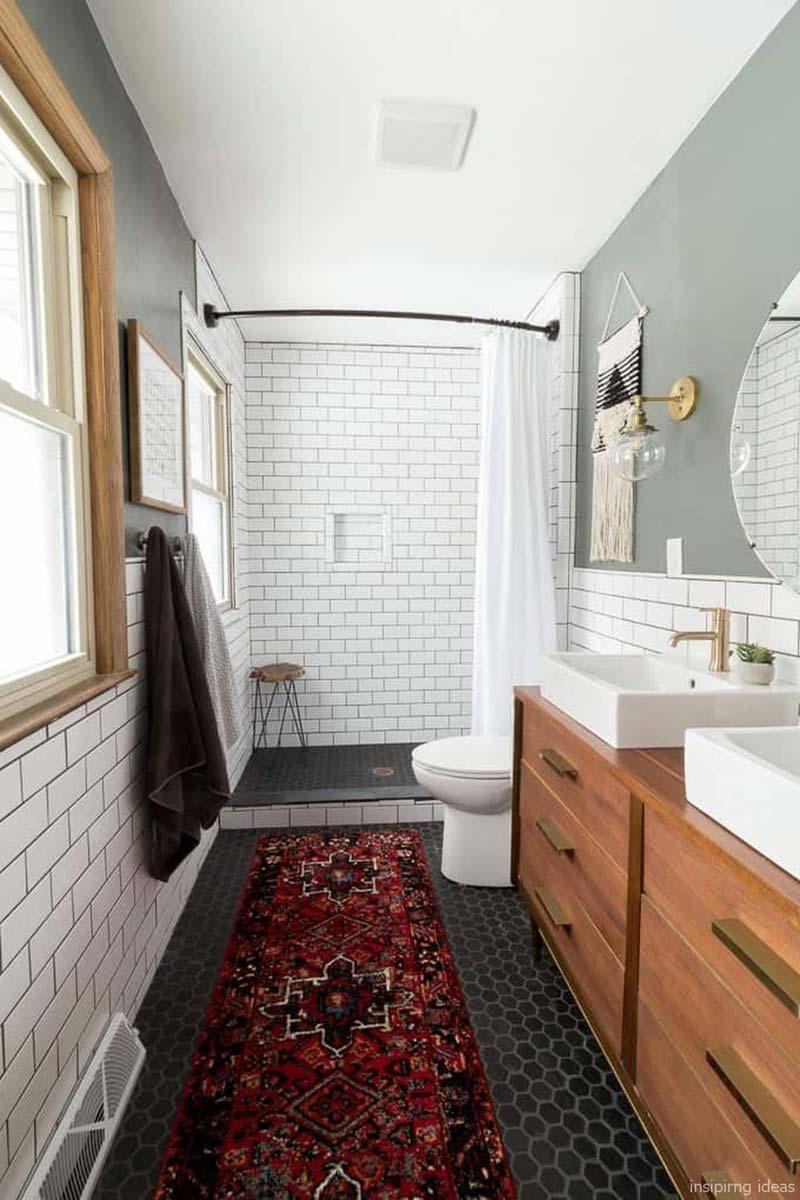 kleurrijk vintage vloerkleed badkamer