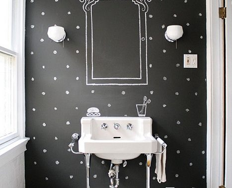 Krijtbord in badkamer