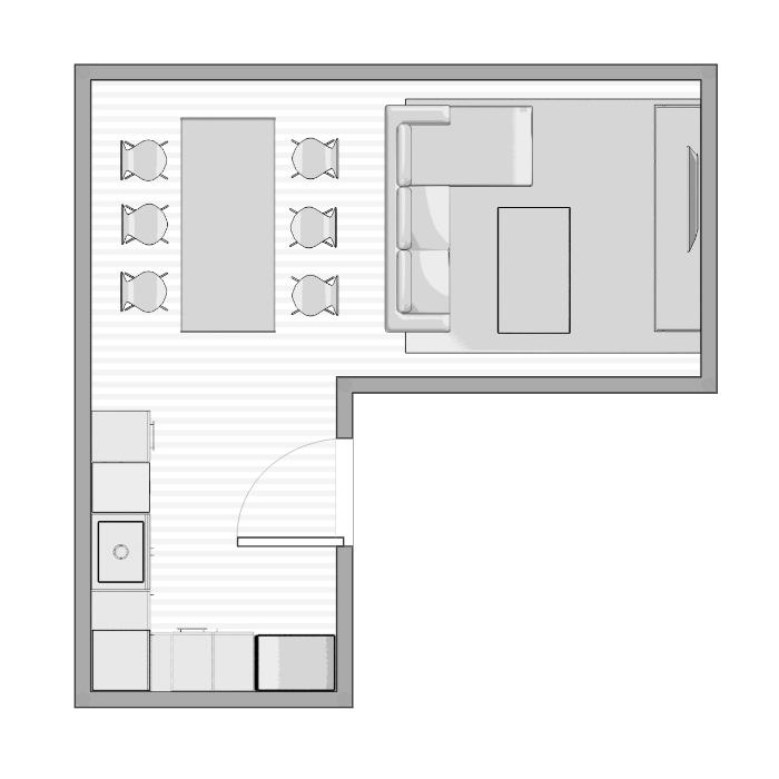 L vormige woonkamer plattegrond