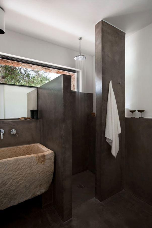 landelijke badkamers voorbeelden betonstuc
