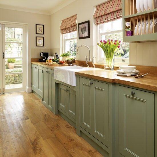 Landelijke groene keuken