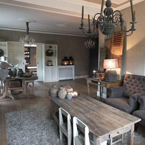 Landelijke inrichting woonkamer for Landelijk interieur accessoires
