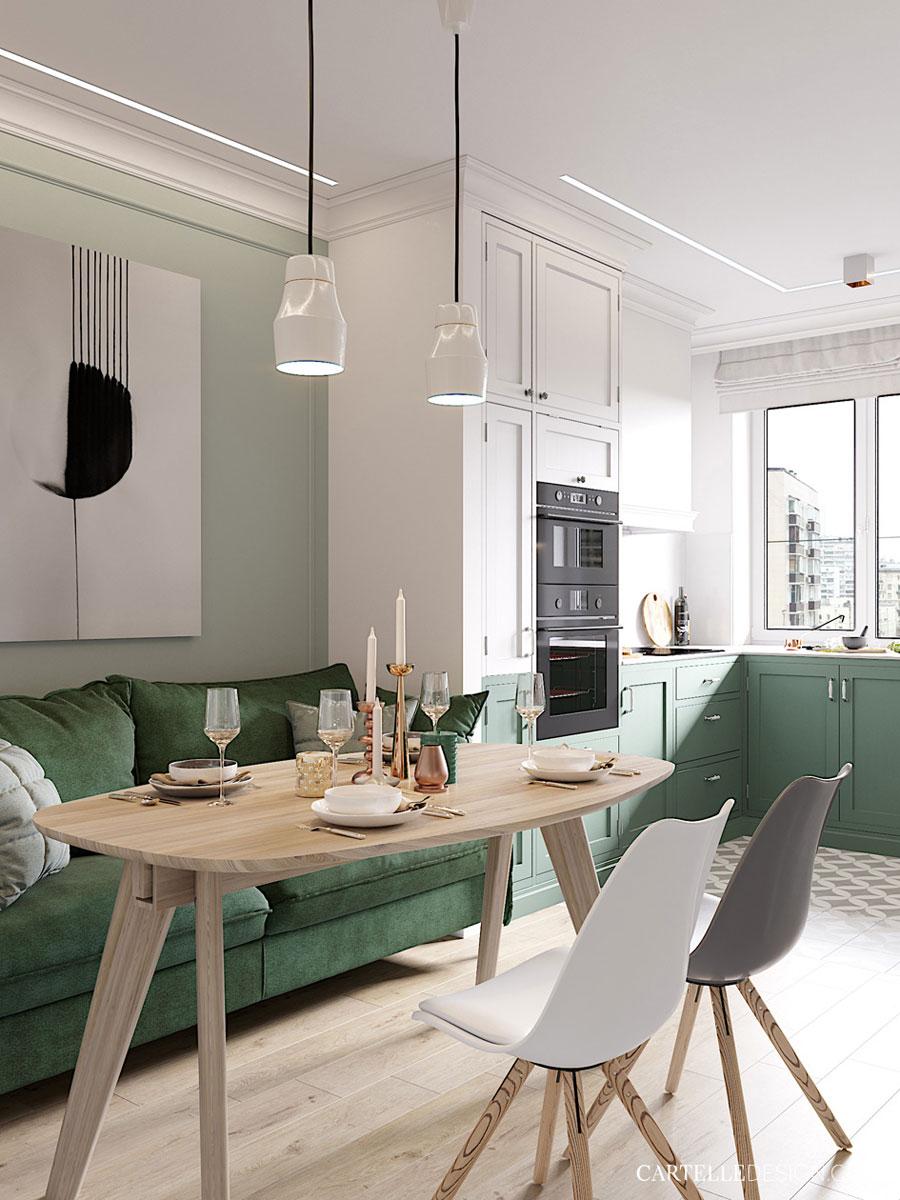 Leuke wit-groene woonkeuken!