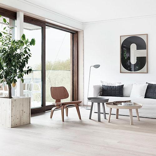 Lichte houten vloer in woonkamer