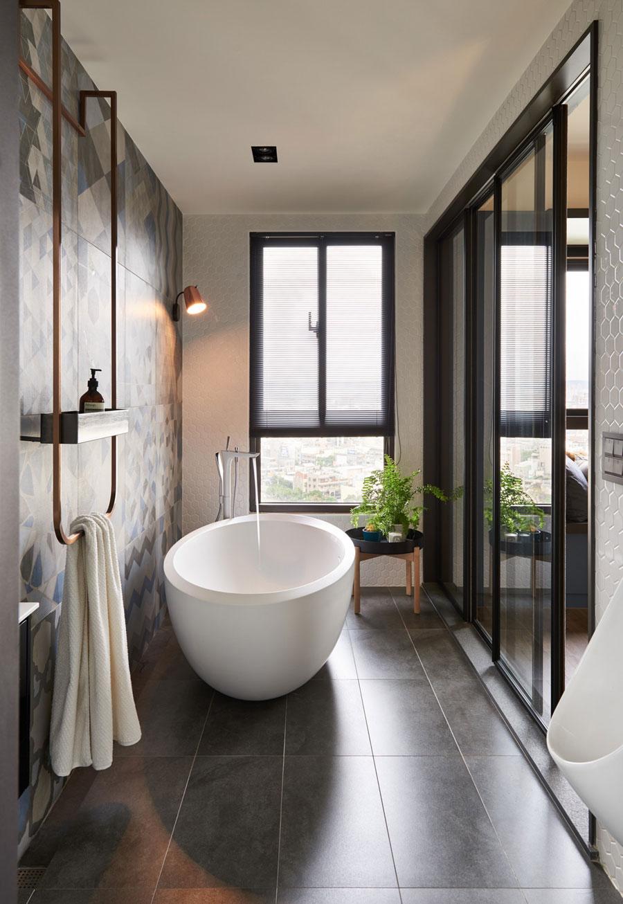 Modern badkamerontwerp met geometrische vormen