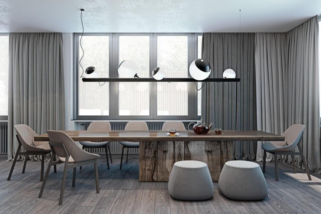 Modern en luxe appartement met een donker kleurenpalet