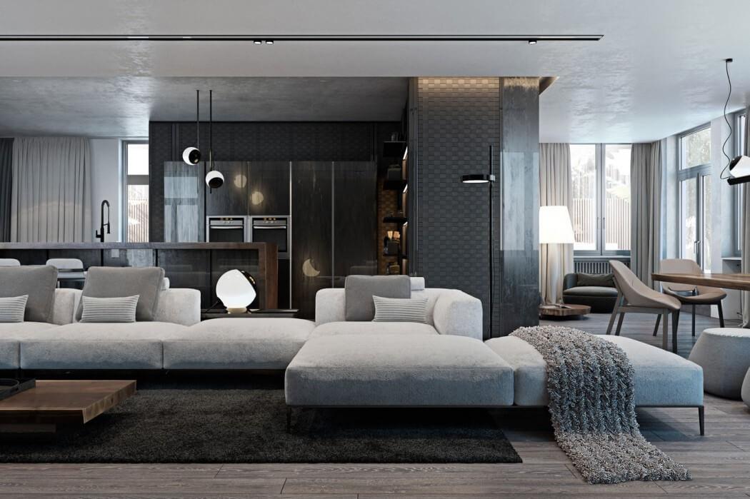 Modern en luxe appartement met een donker kleurenpalet ...