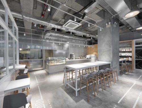 Modern industrieel boetiek café in Hong Kong