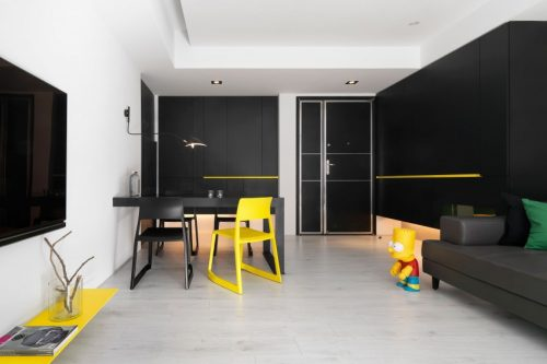 Geliefde Modern appartement met zwart wit en geel | Huis-inrichten.com @HT56