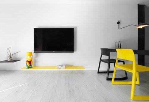 Zwart Wit Appartement : Modern appartement met zwart wit en geel huis inrichten.com