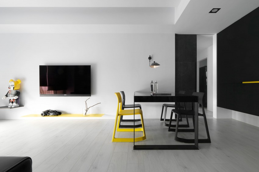Modern appartement met zwart wit en geel | Huis-inrichten.com