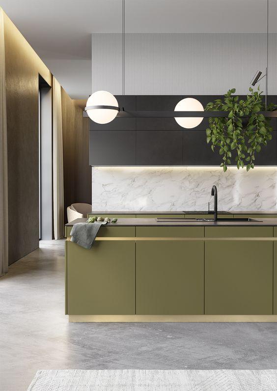moderne olijfgroene keuken