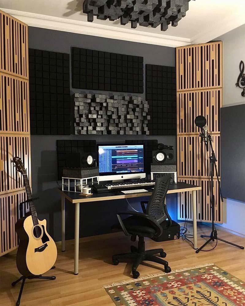moderne thuis muziekstudio opstelling