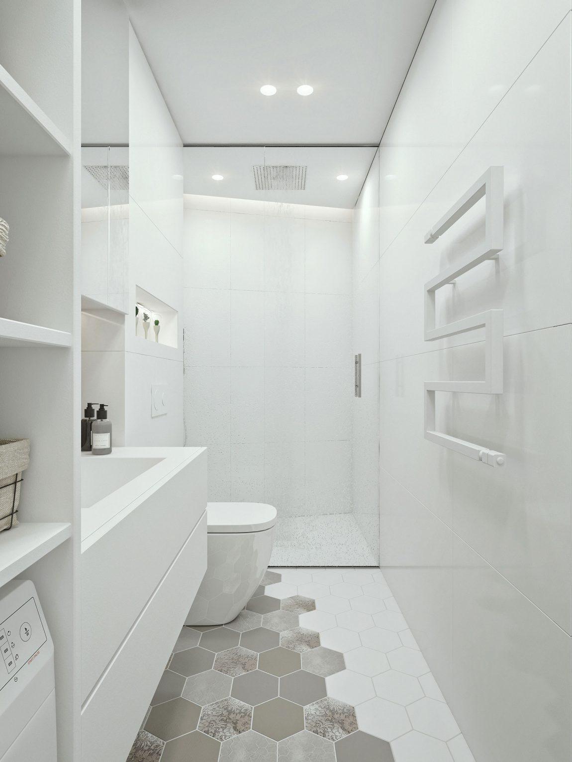Genoeg Moderne witte badkamer met inloopdouche en washok | Huis-inrichten.com #PZ79