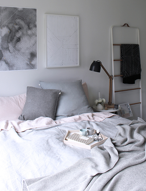 Mooie pastel kleuren in bed