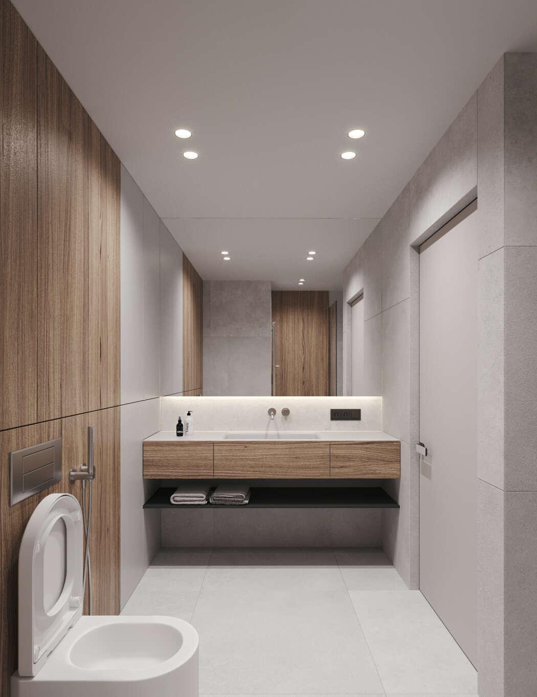 Mooie, strakke, moderne en minimalistische badkamer
