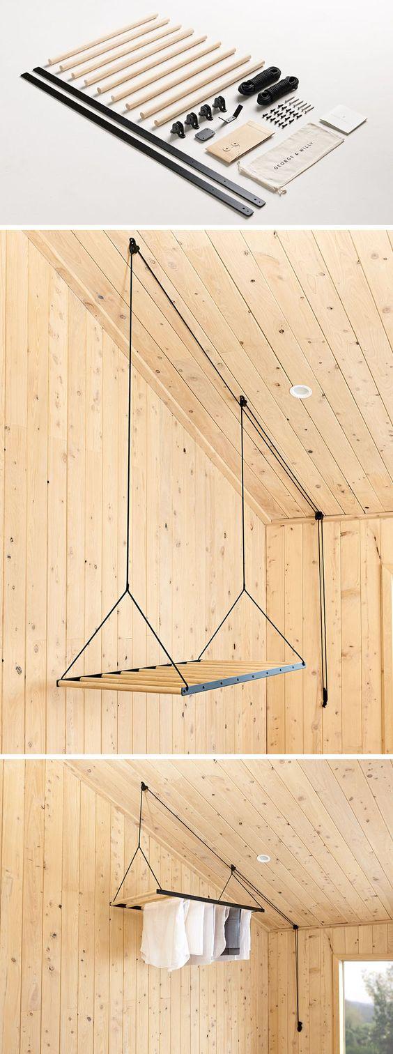 mooie wasrek ophangen aan plafond
