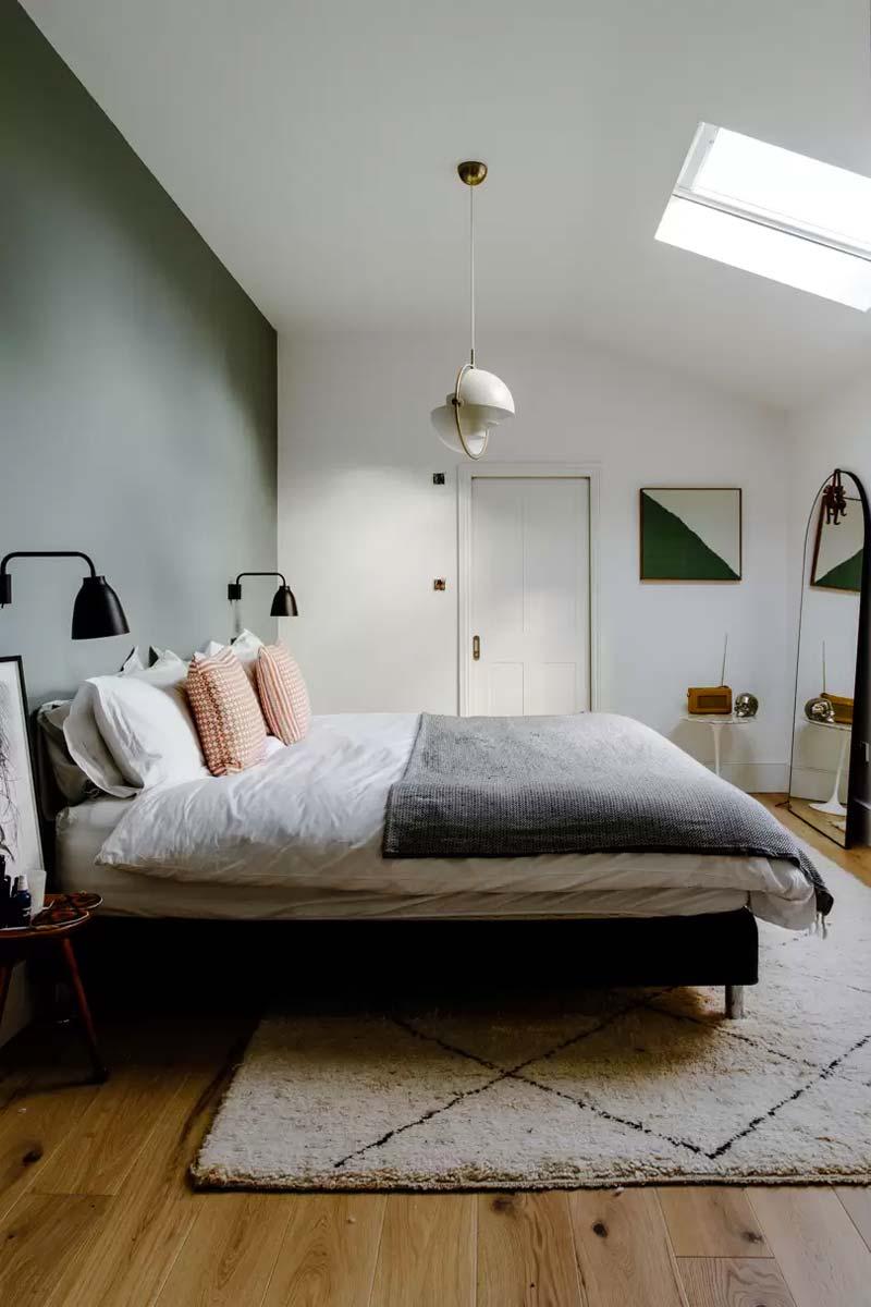olijfgroene muur slaapkamer