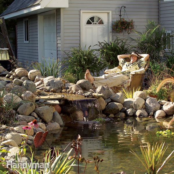 Onderhoudsvrije tuinvijver met waterval