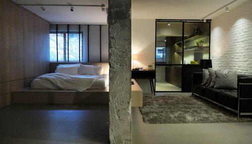 Open slaapkamer in een mini-loft